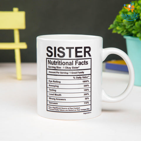 Sister Nutritional Facts Mug