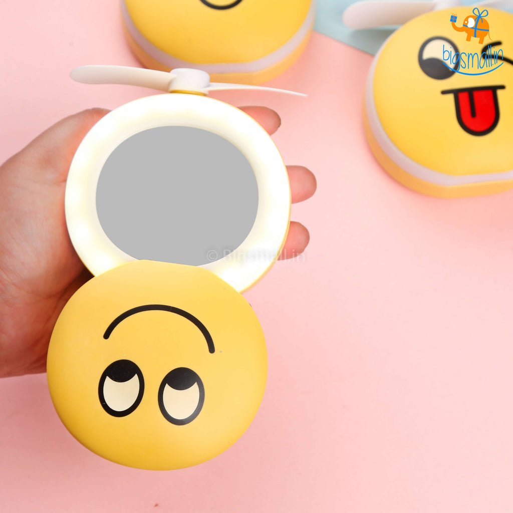 Portable Makeup Mirror With LED Lamp & Mini Fan