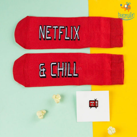 Netflix & Chill Combo - Socks and Pin - bigsmall.in