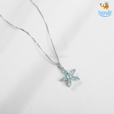 Blue Starfish Semi-Precious Pendant With Chain