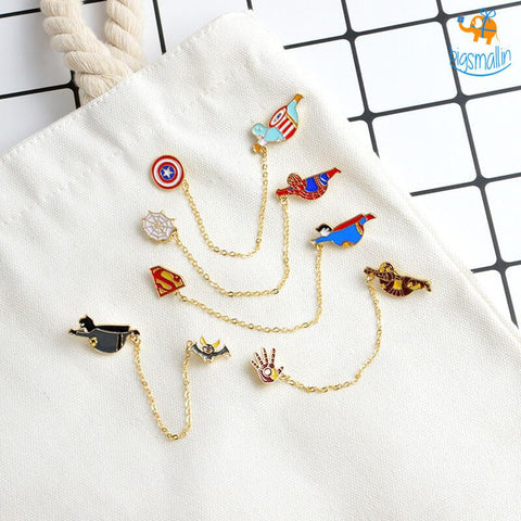 Superhero Chain Brooch Pin