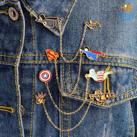 Superhero Chain Brooch Pin - bigsmall.in