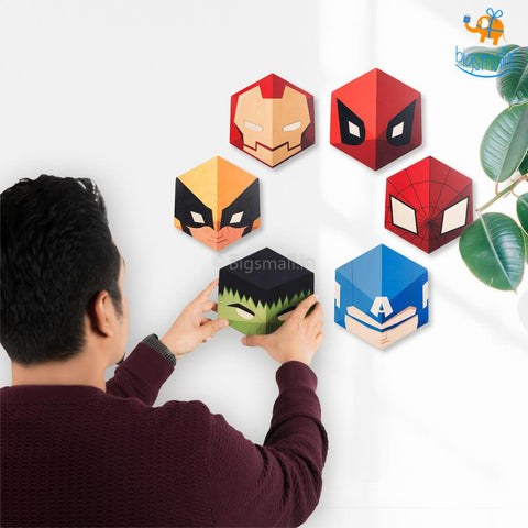 Superhero Hexagon Wall Hangings - Set of 6 - bigsmall.in
