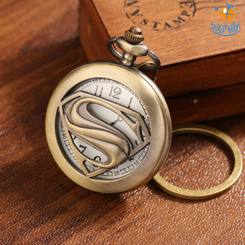 Superman Pocket Watch Keychain - bigsmall.in