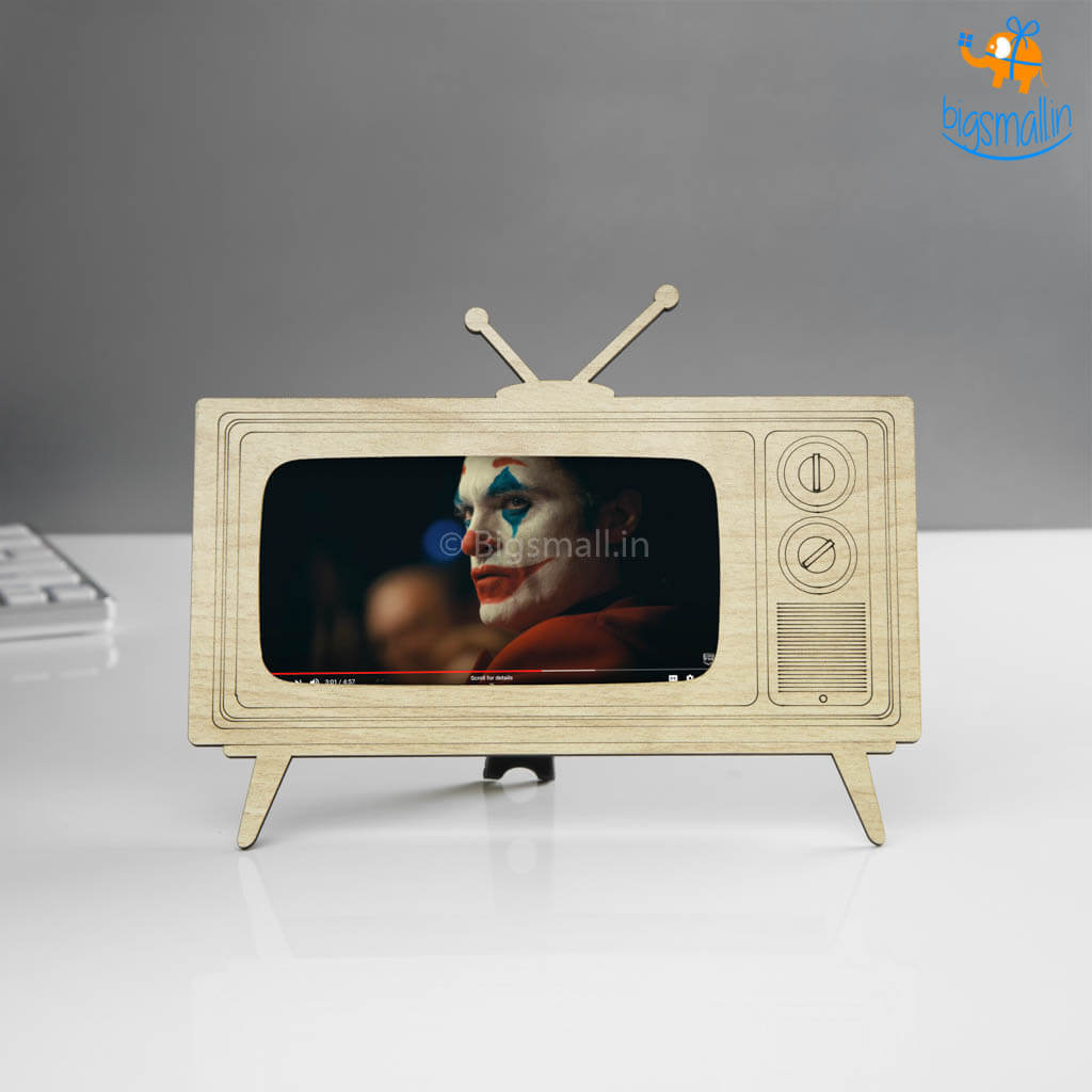 TV Shaped Wooden Phone Holder