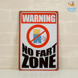 No Fart Zone Tin Board - bigsmall.in