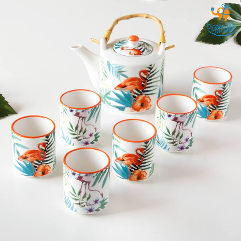 Tropical Teapot Mug Set - Set of 7 - bigsmall.in