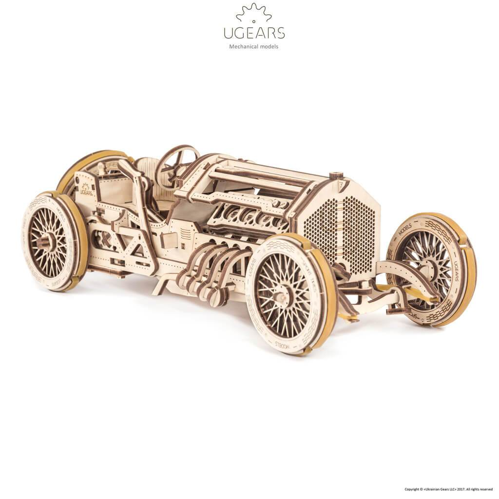 Ugears U-9 Grand Prix Car Mechanical Puzzle - bigsmall.in