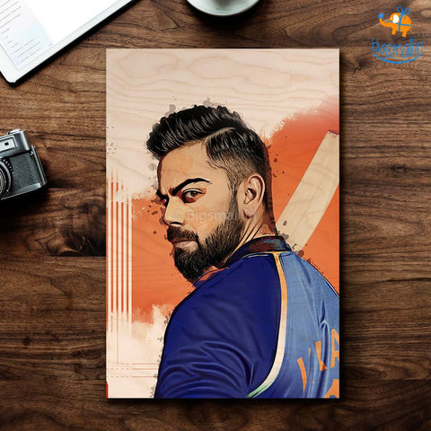 Virat Kohli Printed Wooden Frame ( 17.6 x 11.6 inches) - bigsmall.in