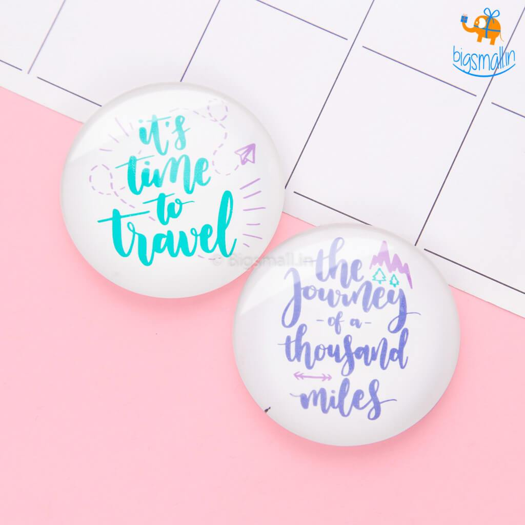 Wanderer Crystal Glass Fridge Magnets- Set of 2 - bigsmall.in