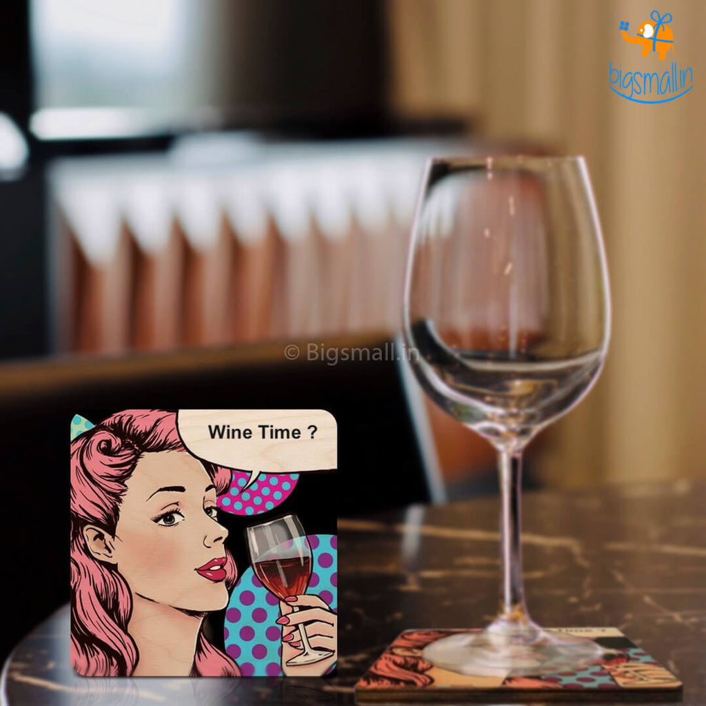 Wine Time Wooden Coasters - Set of 4