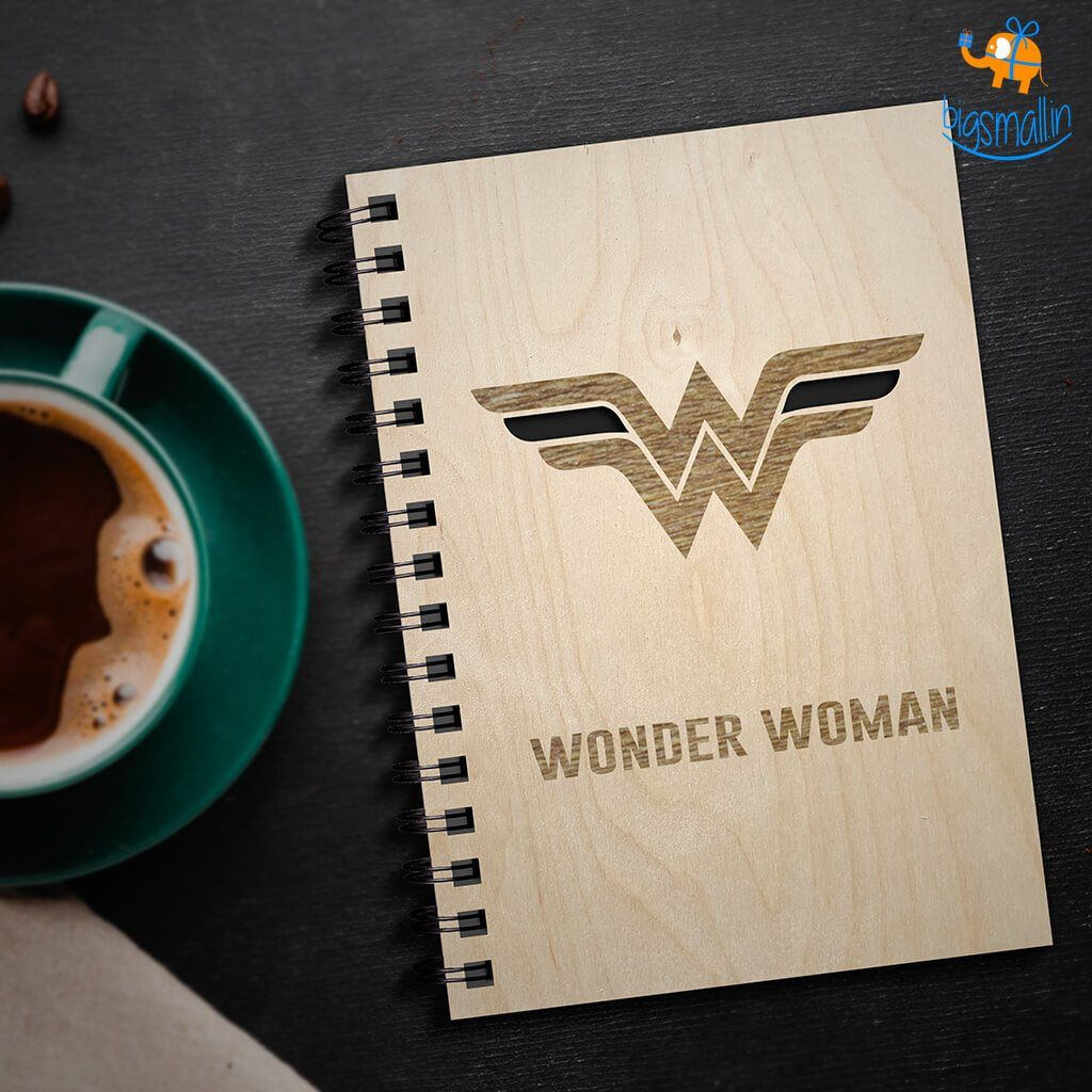 Wonder Woman Engraved Wooden Diary - bigsmall.in