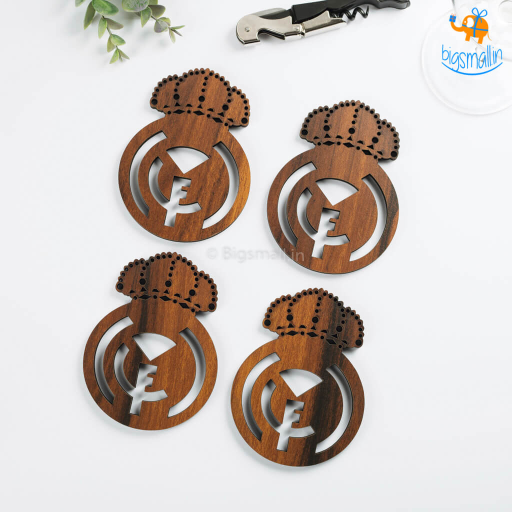 Laser Cut Real Madrid Wooden Coasters - Set of 4 - bigsmall.in