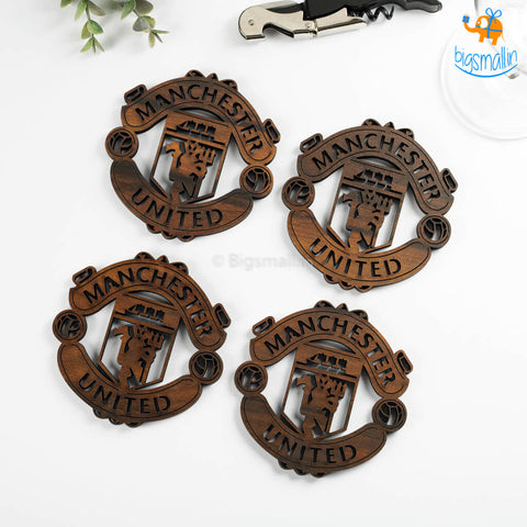 Laser Cut Manchester United Wooden Coasters - Set of 4 - bigsmall.in