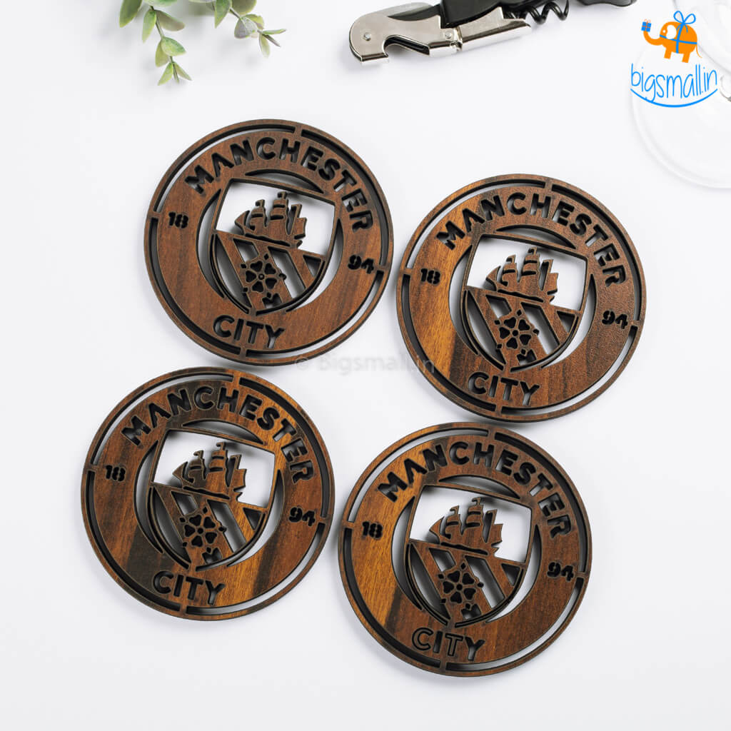 Laser Cut Manchester City Wooden Coasters - Set of 4 - bigsmall.in