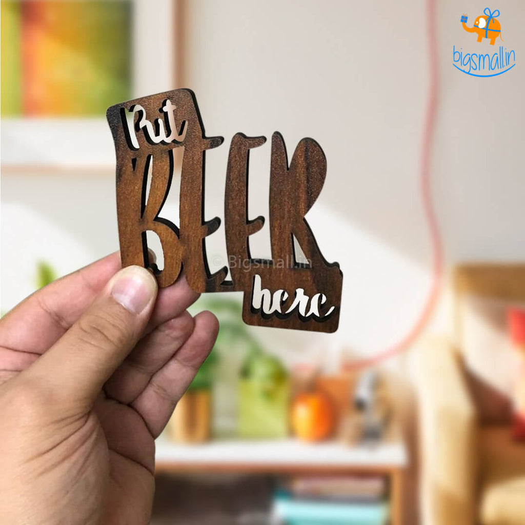 Put Beer Here Laser Cut Wooden Coasters