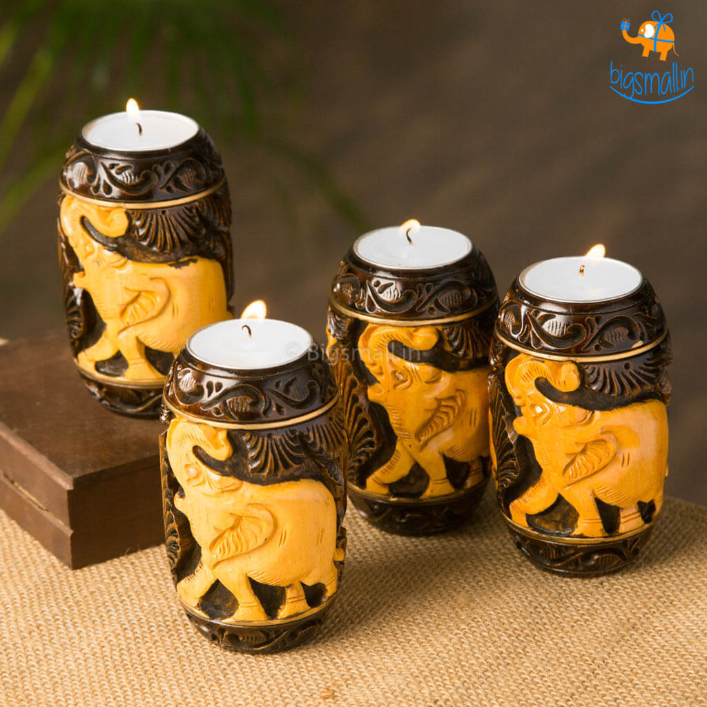 Hand-Crafted Elly Wooden Tea Light Holder