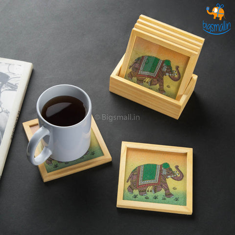 Hand-Painted Wooden Coasters - Set of 6