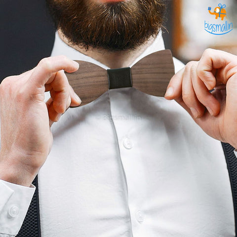 Wooden Bow Tie - bigsmall.in