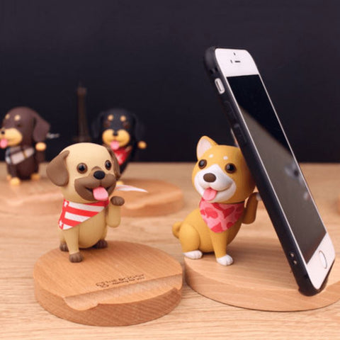 3D Wooden Doggo Phone Stand - bigsmall.in
