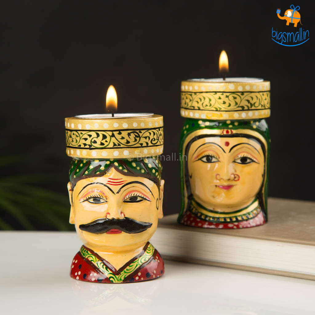 Hand-Crafted Wooden Face Tea Light Holder - Set of 2
