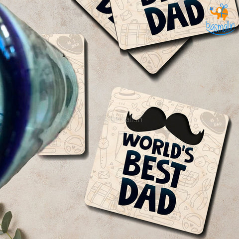 World's Best Dad Wooden Coasters