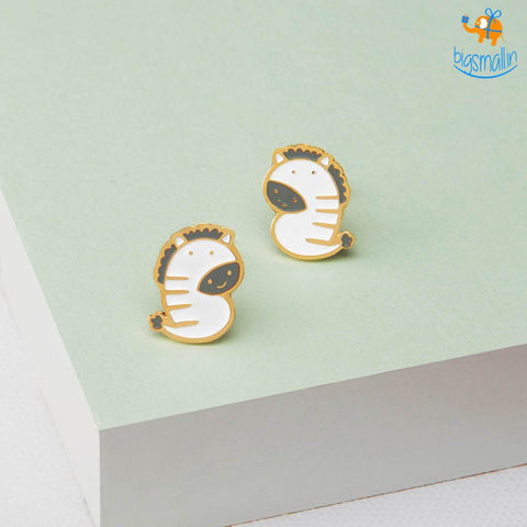 Zebra Gold Plated Earrings