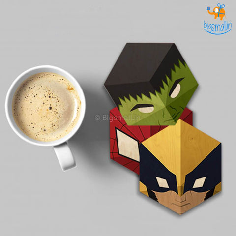 Marvel Wooden Superhero Coasters - Set Of 6 - bigsmall.in