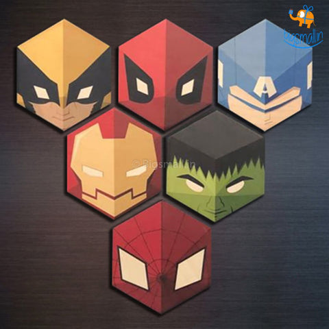 Wooden Superhero Fridge Magnets - Set Of 6 - bigsmall.in