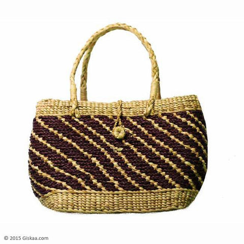 Oval Shaped Braided Mixed Colored Handbag