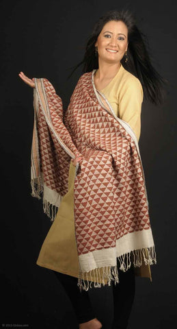 Handmade 100% Eri Silk stole, cream base with a filling of brown aztec design