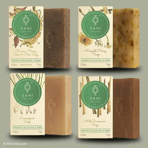 Handmade Assorted Soap Combo By Sahi Naturals - Pack Of 4 - (4 X 75 G)