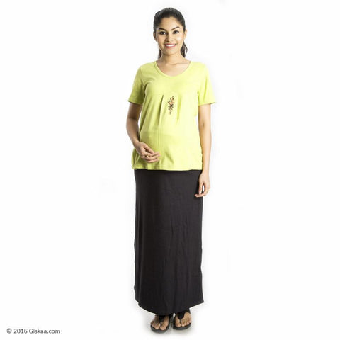 100% Organic Cotton Ankle Length Maternity Skirt (Black)
