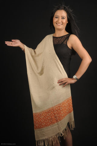 Handmade 100% Eri Silk stole in cream and orange