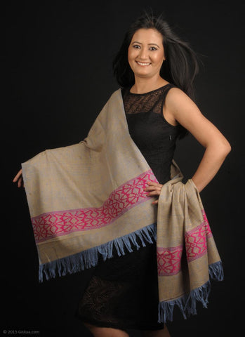 Handmade 100 % Eri Silk stole in biscuit, pink and blue colour