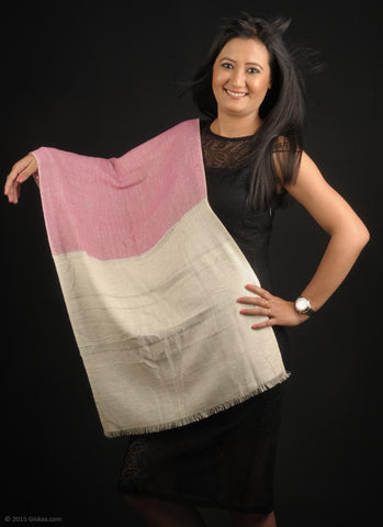 Handmade 100 % Woolen stole in white and pink
