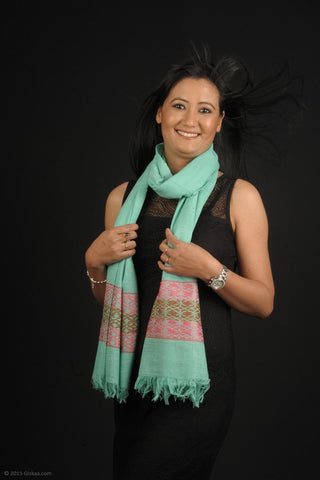Handmade 100 % Eri Silk stole in green and red prints