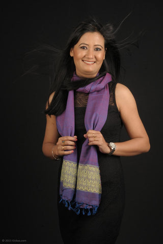 Handmade 100 % dyed Eri Silk stole in rich purple and gold colour
