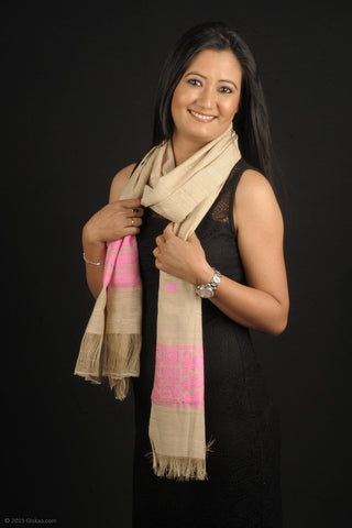 Handmade 100% Eri Silk stole in cream and pink colour