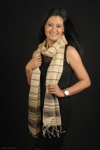 Handmade 100% Silk stole in satin cream and thin brown stripes