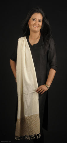 Handmade 100% Eri Silk with Muga Spun stole in ceam and gold circles at the border for salwars