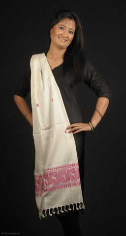 Handmade 100% Eri Silk stole, white colour with pink traditional designed border