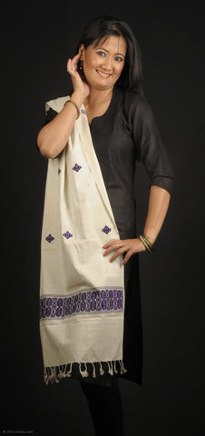 Handmade 100% Eri Silk stole, white with purple geometric design border