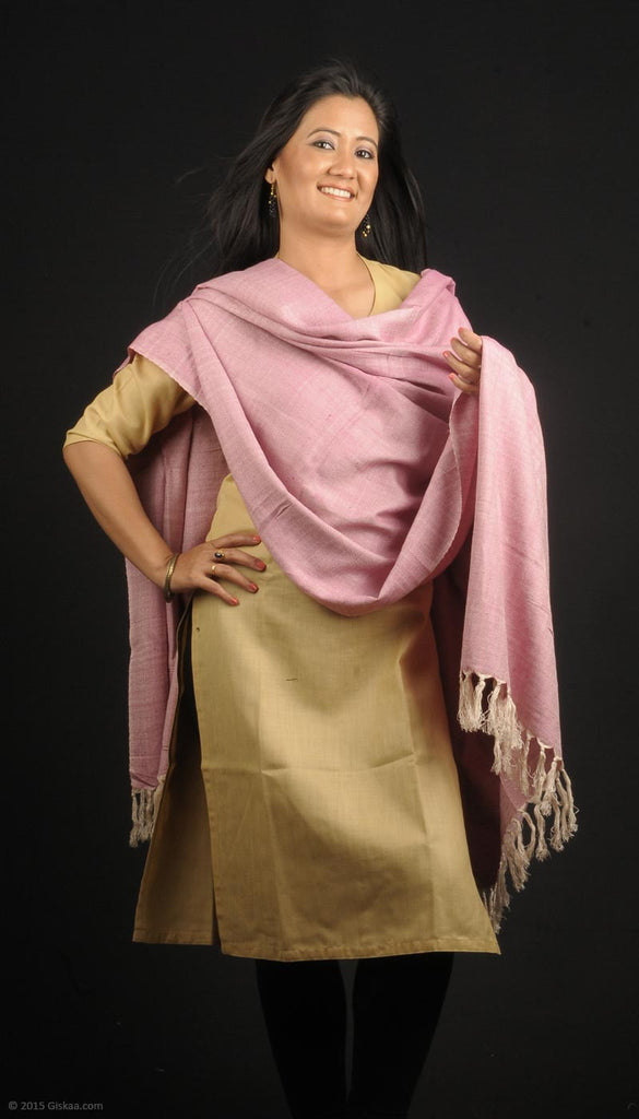 Handmade Eri blended with Bamboo yarn stole, light pink colour