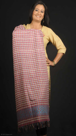 Handmade 100% dyed Eri Silk stole, pink check boxes and blue printed border