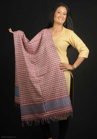 Handmade 100% Eri Silk stole with purple checks