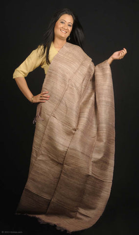 Handmade 100% Silk stole in earthy brown color