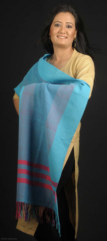 Handmade 100% Woolen stole, transparent light blue base with red stripes
