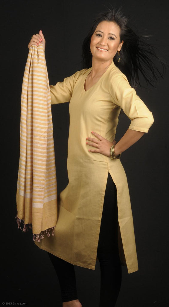 Handmade 100% natural dyed Eri Silk stole with yellow stripes