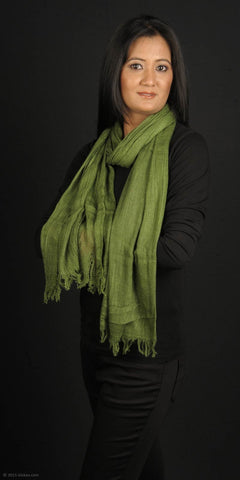 Handmade 100% dyed Eri Silk stole, forest green base